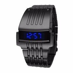Unikalne Iron Man zegarki ze stali nierdzewnej cyfrowy LED luksusowy wojskowy Sport Wrist Watch modny top Brand New męski zegar