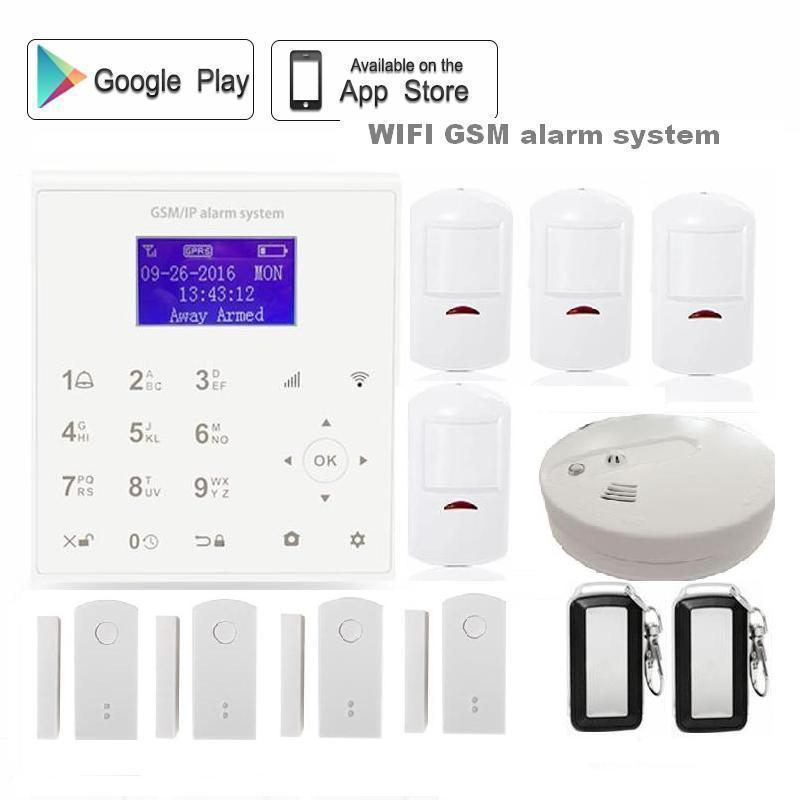 QOLELARM Polish Spanish Wireless wifi gsm Home Alarm System Heat Smoke Detector Android/IOS APP door sensor rechargeable battery wireless smoke fire detector for wireless for touch keypad panel wifi gsm home security burglar voice alarm system