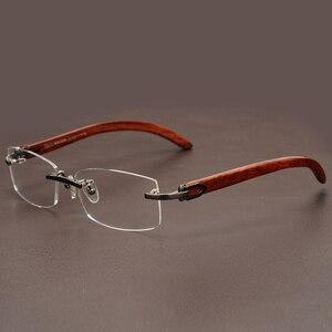 Image 4 - リムレス木製ゴールドメガネフレーム男性軽量光学眼鏡フレームブランドのデザイナーの処方近視眼鏡