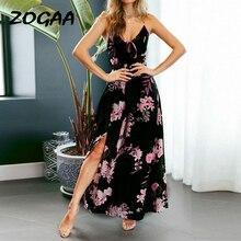 ZOGAA 2019 Women Floral Print Spaghetti Strap Dresses V-Neck Backless Bandage Evening Party Beach Vestidos De festa summer dress