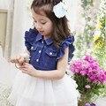 2016 Summer Kids Girls Dresses Princess Costume Sleeveless Turn Down Collar  Lace Jean Stitching Fashion Toddler  Dress 2-8Y