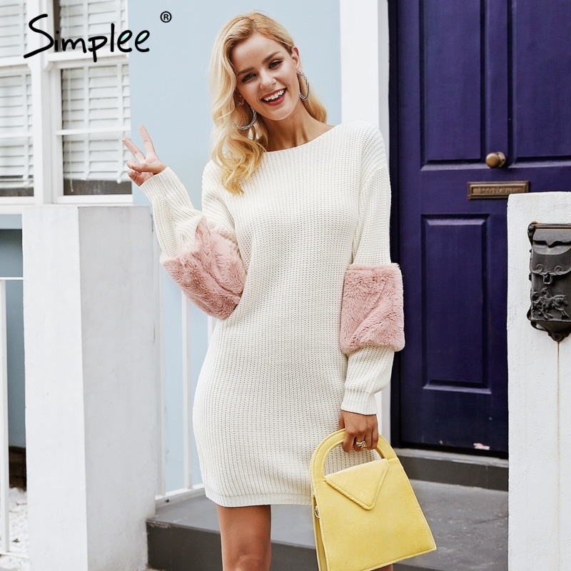 Simplee Повседневное трикотажное женское платье-свитер с круглым вырезом свободное повседневное плиссированное платье пуловер женское осенн...