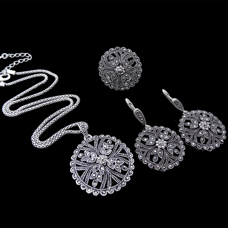 HENSEN Fashion Jewellery Antique Silver Plated Vintage Black Rhinestone Jewelry Sets For Women