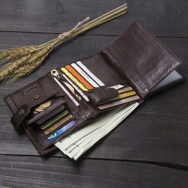 CONTACT'S Leather Wallet Luxury Male Genuine Leather Wallets Men Hasp Purse With Passcard Pocket and Card Holder High Quality 5