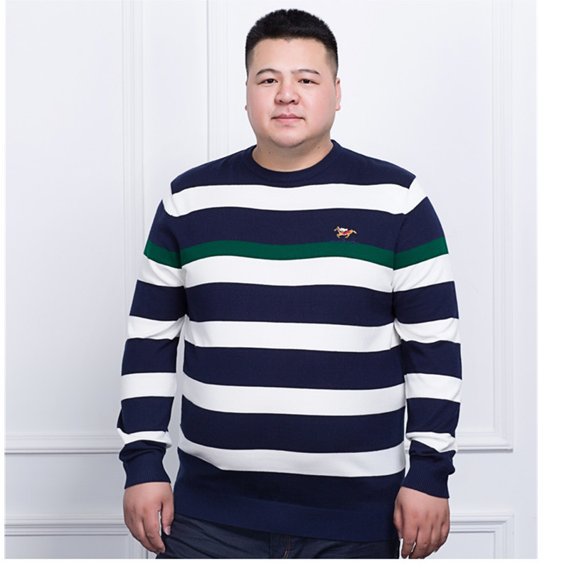 Plus Size 10XL 9XL 8XL 6XL 5XL 4XL Mens Pullovers Sweaters Autumn Wear Basic Style Youth Preppy Shirts Striped Regular Big Size