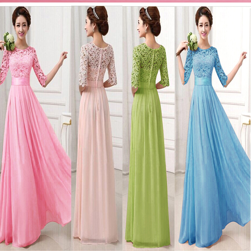 Promotion 5 Color Lady Elegant Ball Gown Lace Chiffon Draped Gauze ...