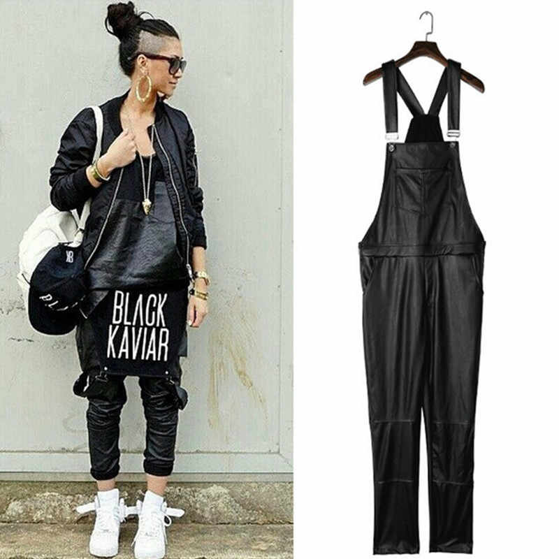 2017 pantalones de impresión mono largo recto diseño negro PU negro KAVIAR SliM Pantalón de cuero de los hombres de cuero Jogger pantalones de Liga