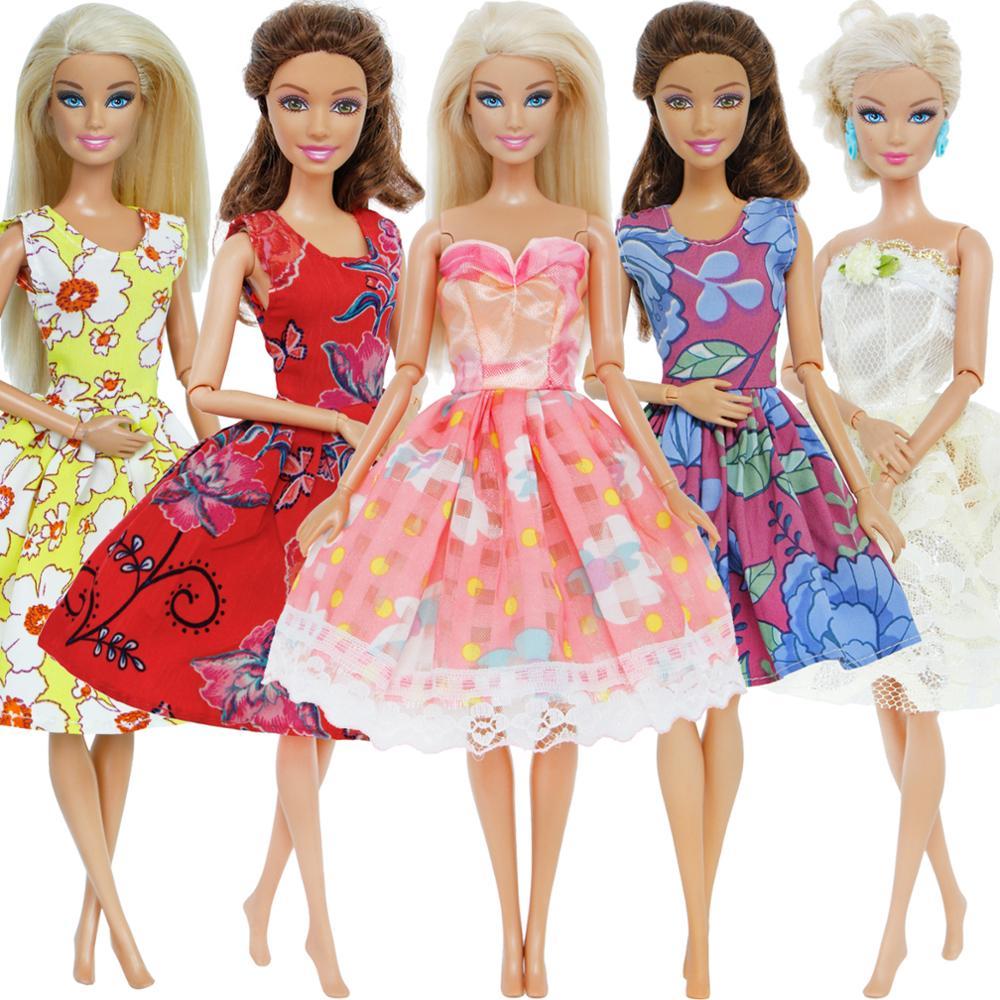 5 set/lote estilo mixto vestido diario Casual desgaste encaje boda vestido de fiesta falda de princesa accesorios ropa para muñeca Barbie regalo