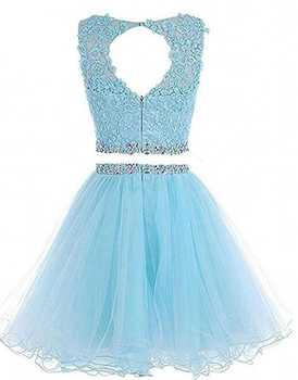 Two Pieces 1960S High Neck Homecoming Dresses Sexy Hollow Back Beading Tulle Short Cute 8th Grade Graduation Dresses Plus Size