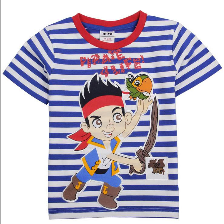 Nova kids T shirt Clothes Kids Baby Jake And The Neverland Pirates Clothing 100% Cotton Clothes short Sleeve T Shirt For Boys fashion summer kids boys clothing set 100% cotton short sleeve british and american flag t shirt and jeans boys clothes suits