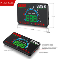 E350 HUD Car Head Up Display Car OBD2 Digital Car Speedometer Speed Projector Warning Car Auto OBD 2 Display Alarm System