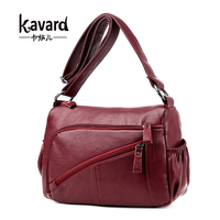 Kavard Casual Women Bag Solid Designer Leather Messenger Bags Fashion Soft Single Shoulder Bag With Double