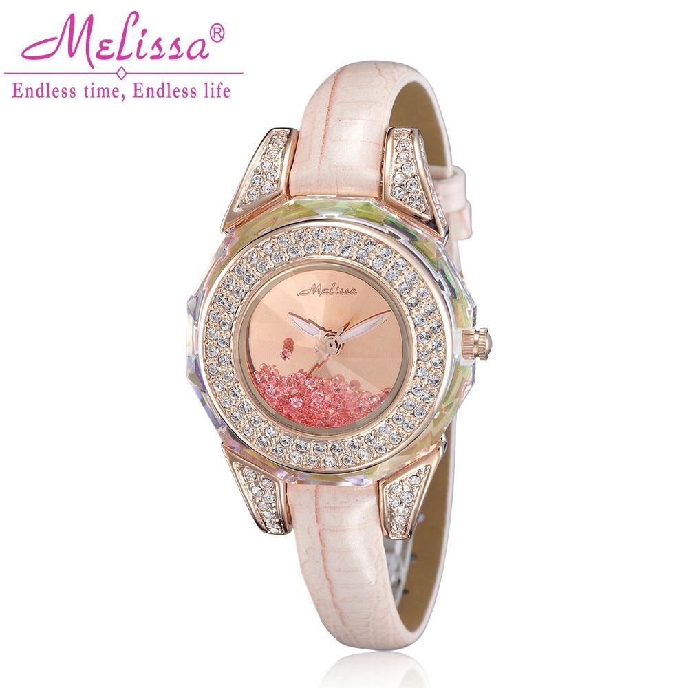 Melissa Lady Wrist Watch Quartz Hours Best Fashion woman Dress Bracelet Leather Crystal Luxury Rhinestones Girl