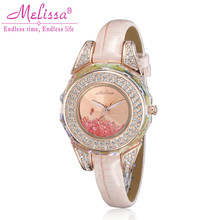 Melissa Lady Wrist Watch Quartz Hours Best Fashion woman Dress Bracelet Leather Crystal Luxury Rhinestones Girl Birthday Gift
