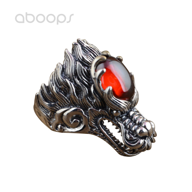 Punk Sterling Silver Chinese Dragon Head Ring with Red Cubic Zirconia for Men Boys Size 8.5 9 10 11 Free Shipping цена