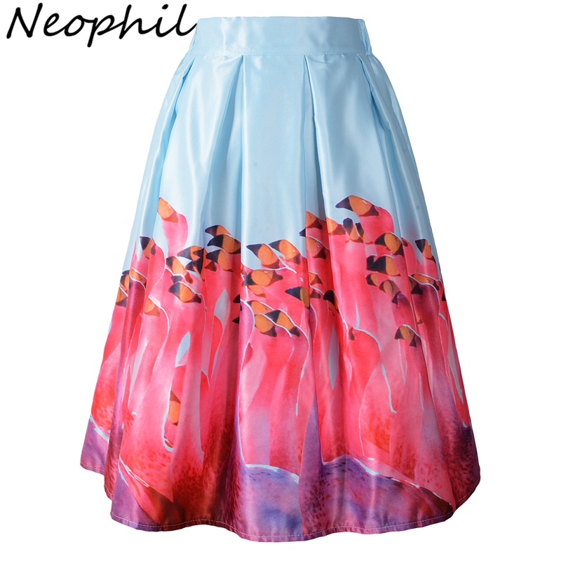 Neophil 2019 Vintage Ladies High Waist 3D Flamingos Birds Painting Pleated Women Midi Flare Swing A Line Skirts Tutu Saia S08043