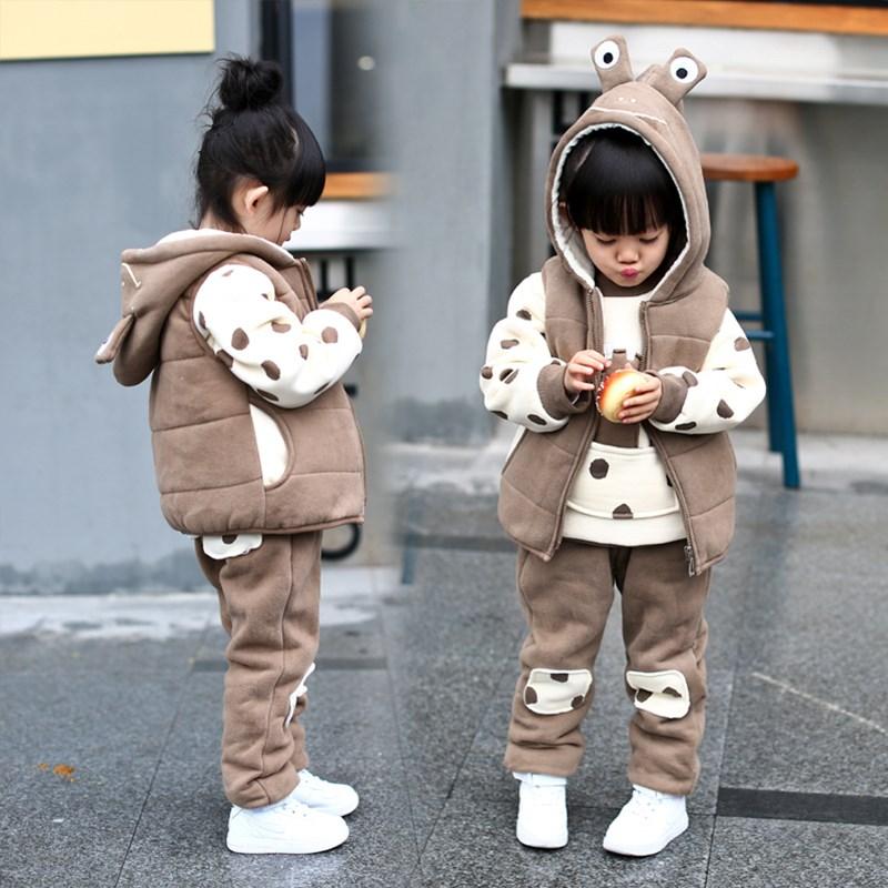 2019 automne hiver bébé enfants à pois vêtements 3 pièces ensemble petites filles mignon dessin animé tenue enfants épaississement velours vêtements X289