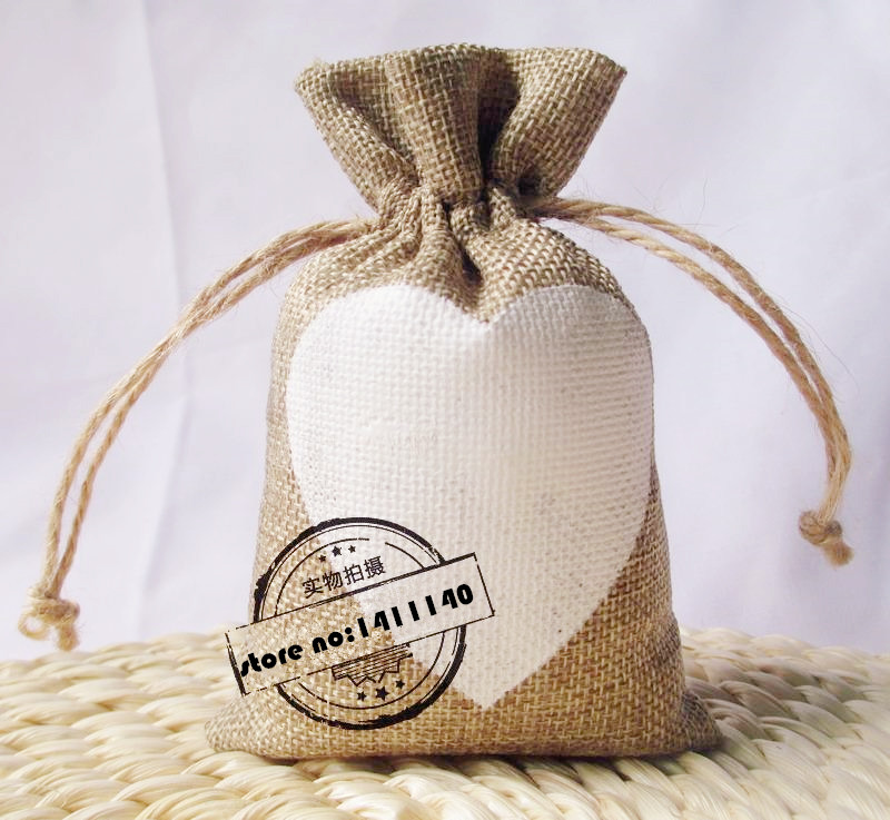 White Love Heart Print Natural Jute Hessian Burlap Drawstring Bags Rustic Wedding Favors Party Gift Candy Bo 50 Pcs In Wring Supplies