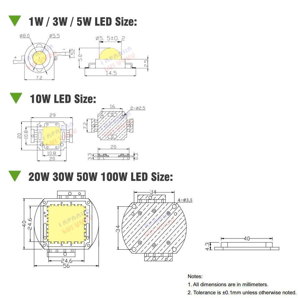 1W 3W 5W 10W 20W 30W 50W 100W растеж LED чип COB пълен - Професионално осветление - Снимка 3