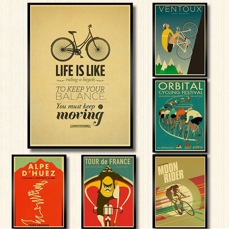 Classic Movie Bike Poster Kraft Paper Print Wall Art Painting Vintage Style Room Decoration Retro Poster Wall Sticker