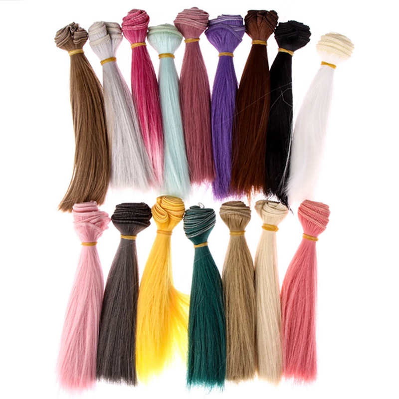 1pcs 15cm Doll Accessories Straight Synthetic Fiber Wig Hair For Doll Wigs High-temperature Wire(China)