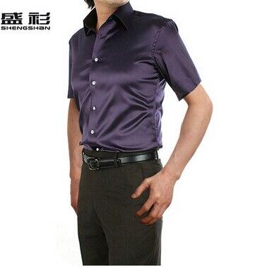 ZOEQO, новинка, брендовая летняя стильная Высококачественная шелковая мужская рубашка с коротким рукавом, повседневная мужская рубашка, camisa masculina camisas hombre - Цвет: 23 dark purple