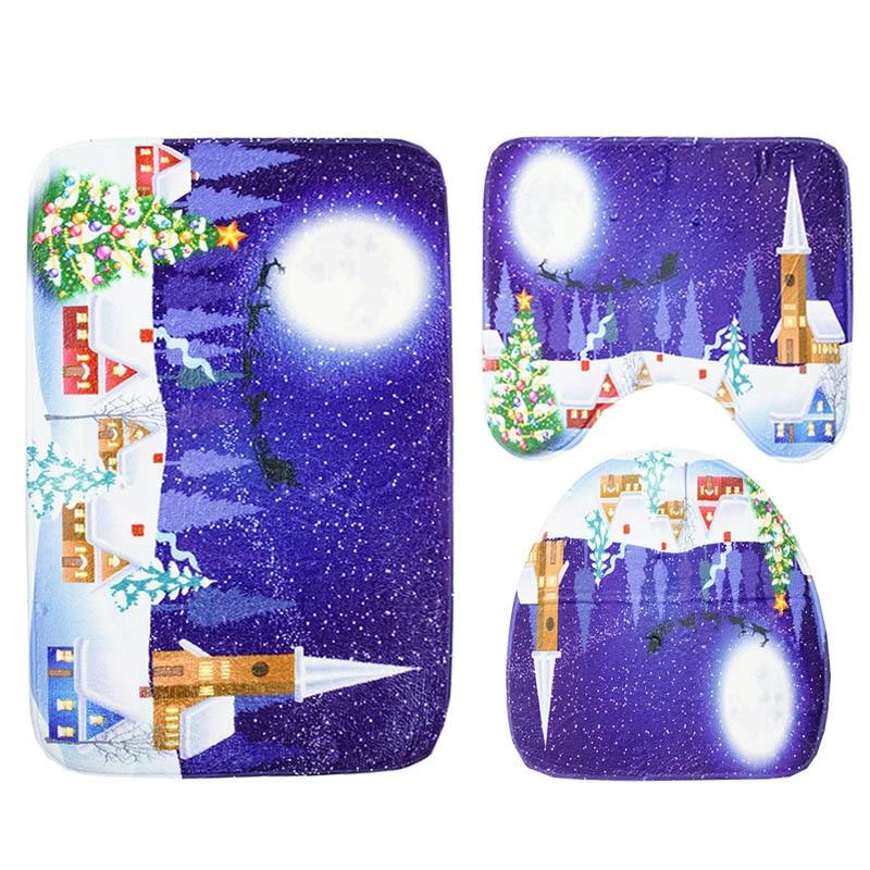 1 Set Bathroom Mat Set Flannel Anti Slip Toliet Bath Rug Door Mat Carpet Ocean World TB Sale