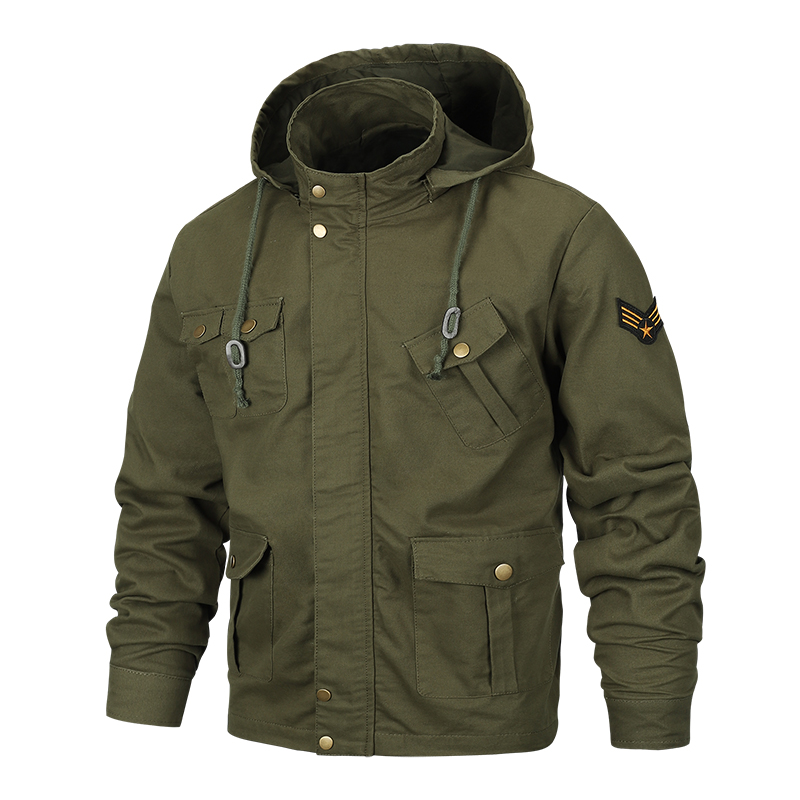 2018 autumn and winter thin men's outdoor fitness hooded slim jacket Pilot/military fashion slim coat Men's cool hooded jacket