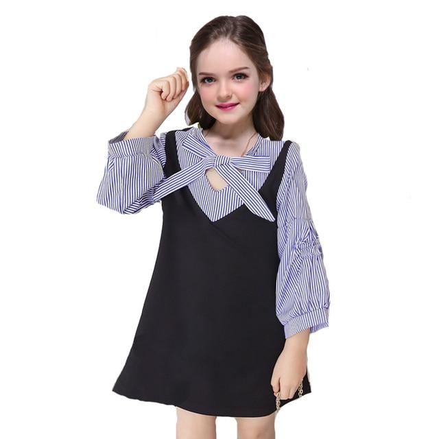 cdd820c4963d Girls Preppy Style Dresses for Children School Uniform Bow Kids Long ...