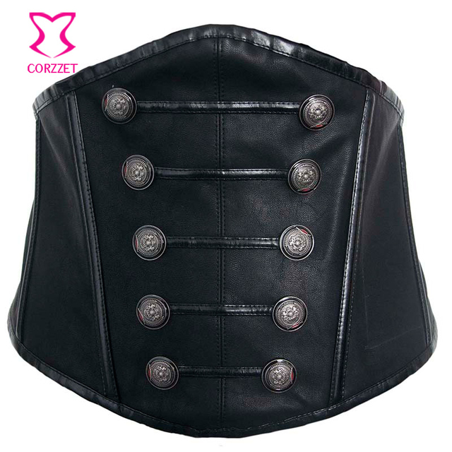 Black Leather Button Lace Up Sexy Gothic Wide Waist Belt Corset Belts For Women Slimming Waist Trainer Belt Steampunk Clothing