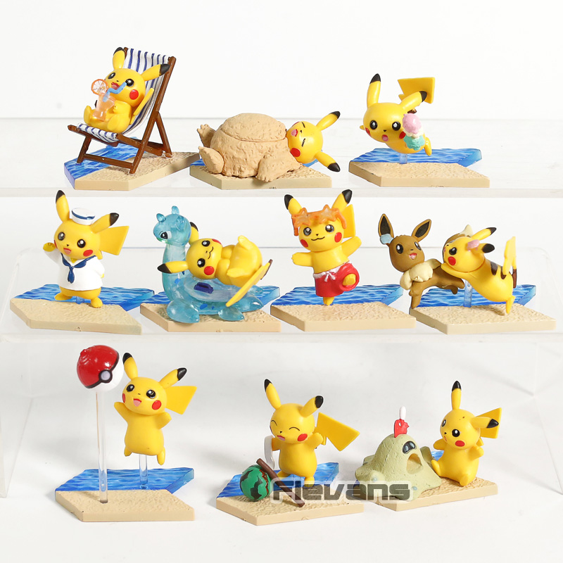 Anime Cartoon Monster Pikachu Seaside Series Mini PVC Figures Toys Collectible Model Dolls 10pcs/setAnime Cartoon Monster Pikachu Seaside Series Mini PVC Figures Toys Collectible Model Dolls 10pcs/set