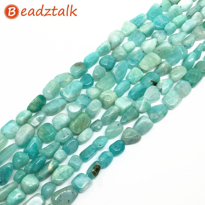 BEADZTALK Natural Blue Amazonite Batu Beads 5-8mm Hijau Batu Kerikil Chip Untuk DIY Membuat Perhiasan Kalung