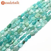BEADZTALK Natural Blue Amazonite Stone Beads 5-8 mm Green Stone Pebble Chips For DIY Jewelry Making Necklaces