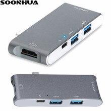 SOONHUA Hub Multi-porta USB-Tipo C HDMI Adaptador HDMI 4 K Saída TF SD 2 Portas USB Carregador 6 em 1 Hub de Expansão Para Apple Macbook
