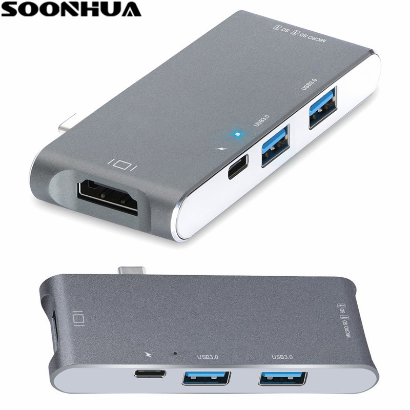 SOONHUA USB Type-C HDMI Hub Multi-port Adapter HDMI 4K Output TF SD 2 USB Ports Expansion Charger 6 in 1 Hub For Apple Macbook