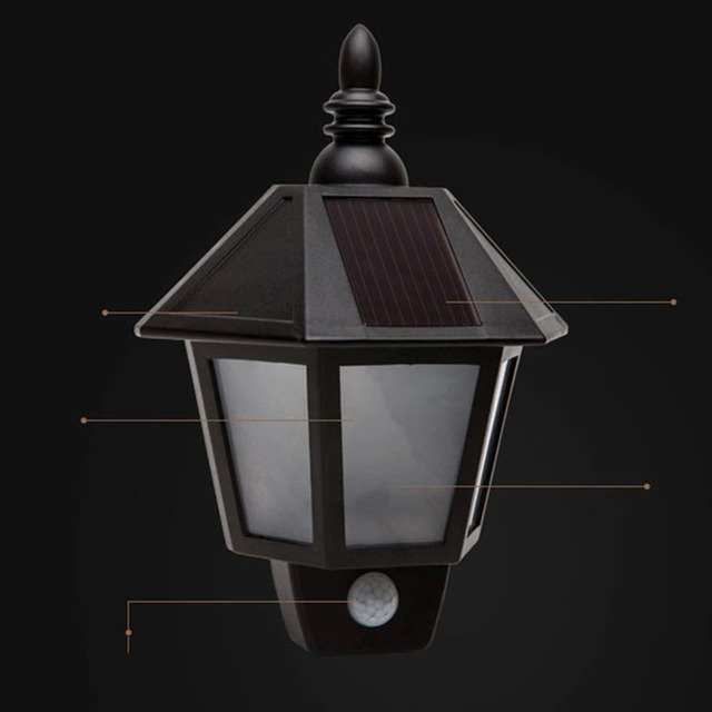 TAMPROAD Solar LED Lamp Security Light PIR Motion Sensor Wall Mount  Spotlight For Garden Porch Patio