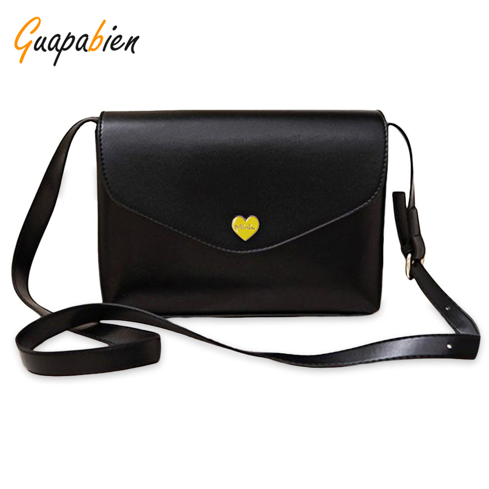 Guapabien Female Handbags Romantic Heart Hasp Small Flap Candy Color Ladies Leather Shoulder Crossbody Bags Women Messenger Bag