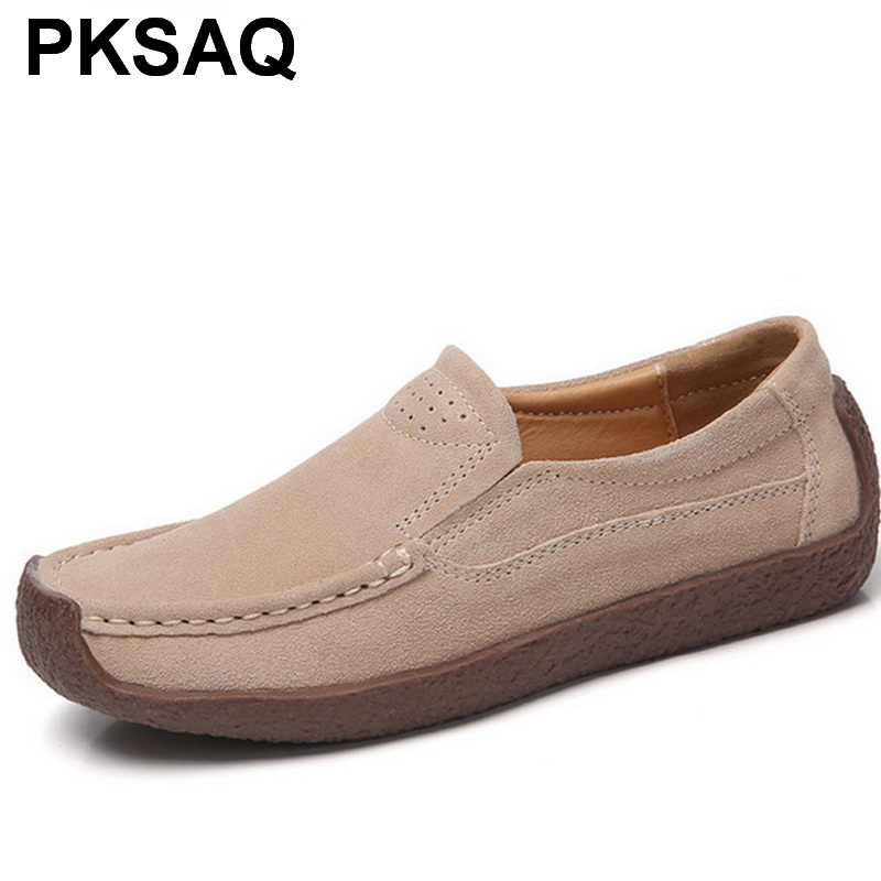 Women Split   Leather   Shoes Woman Lace-up zapatos   Suede     Leather   Lady Moccasins Spring Woman Loafers Shoes
