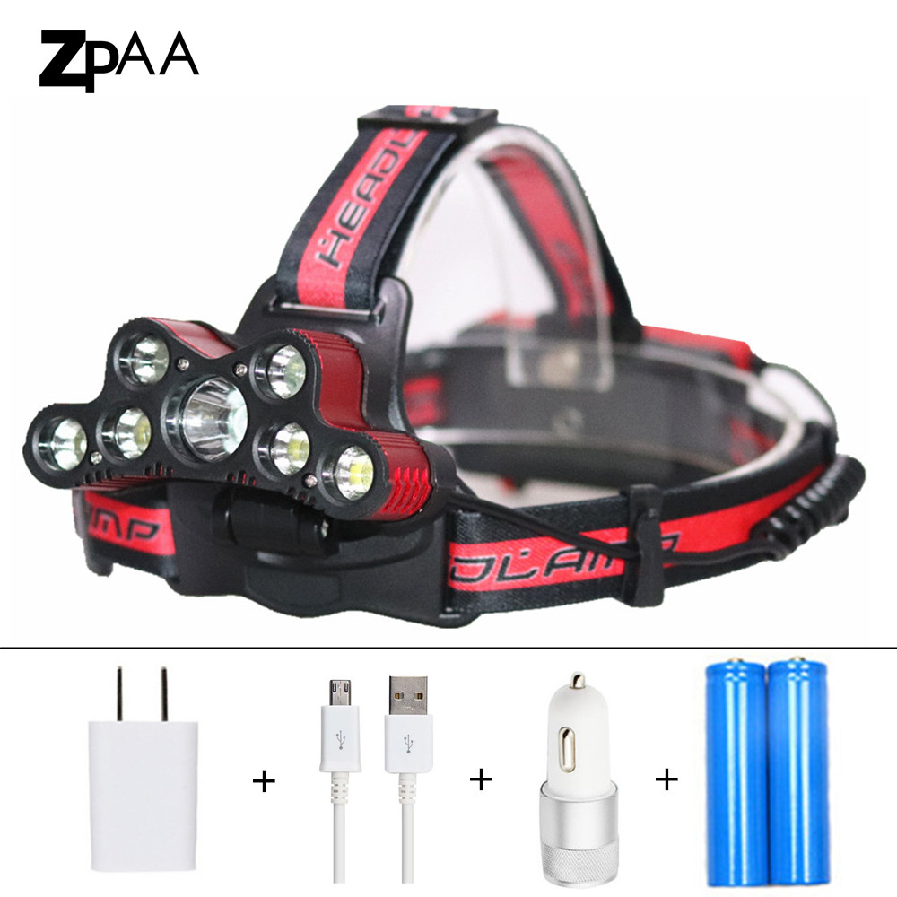 Headlamp 7 Led 15000 Lumen Rechargeable USB Headlight Flashlight XML T6 LED 18650 Lampe Frontale with Battery + Charger Fishing sitemap 7 xml