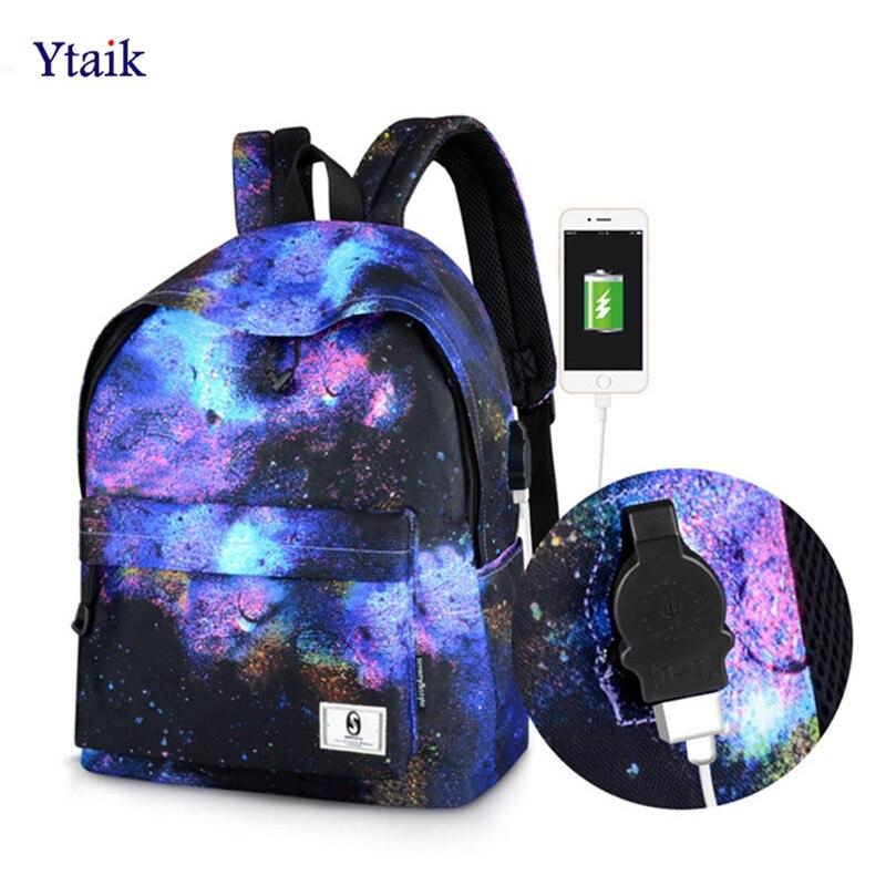 b6aae0708590 Ytaik 2018 модные женские туфли рюкзак анти-вор зарядка через USB Mochila  Колледж студент Школьные ранцы 14 дюймов ноутбук сумка дорожная сумка