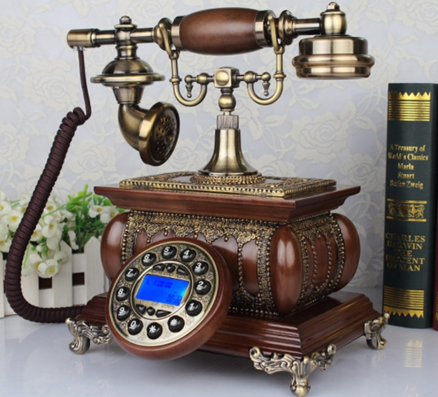 IDS 8921 Vintage solid wood phone antique telephone Redial Hands free blue backlit Caller ID