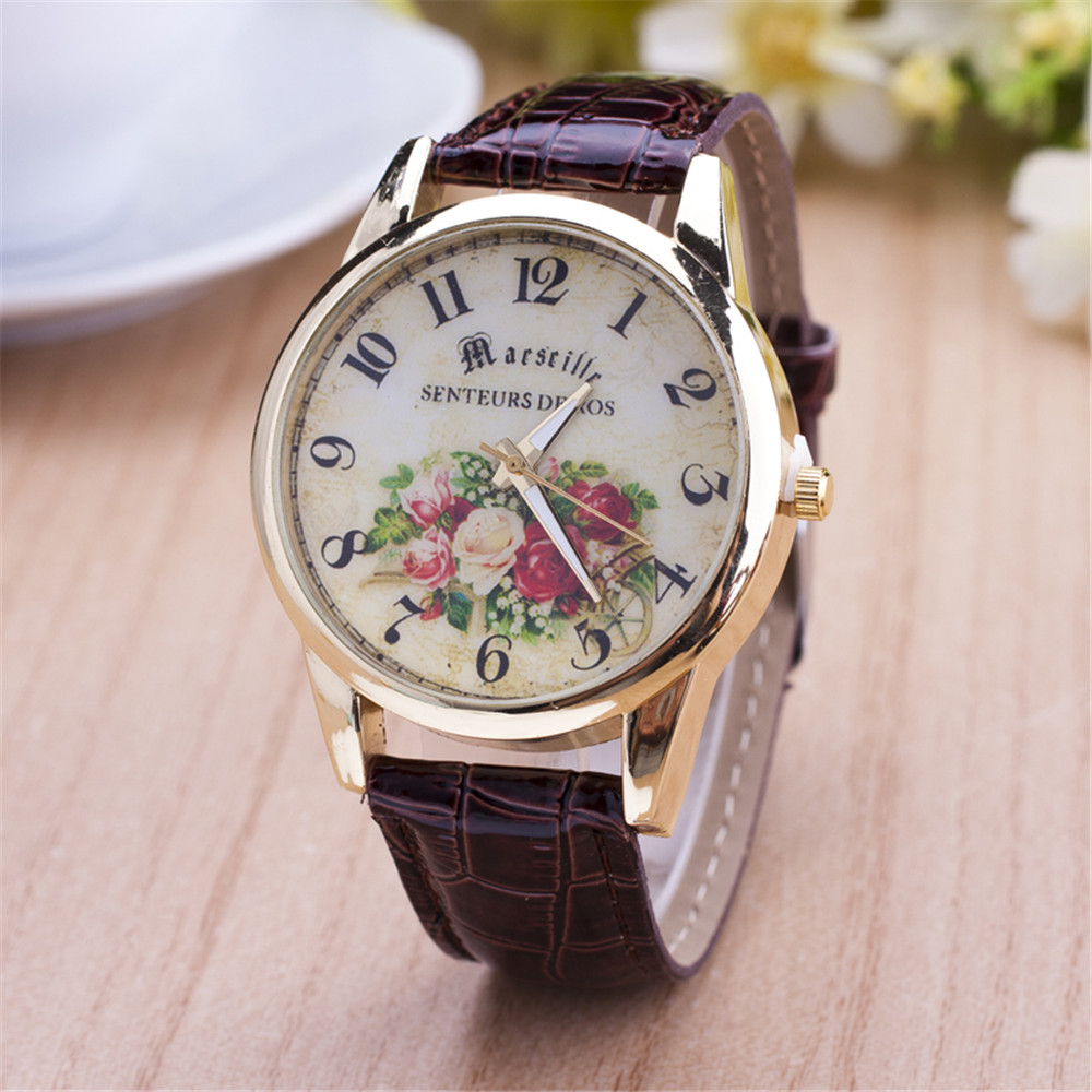 Hot selling high quality casual leather watch women rose pattern pretty quartz watch new retro style Factory Direct Reloj mujer hot selling style star trek theme 3 colors pocket watch with necklace chain high quality fob watch