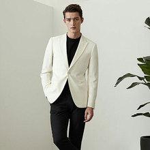 Casual Ivory Men Suits for Wedding Man Blazer Latest Peak Design Groom Tuxedo 2Piece(Coat+Pants) Slim Fit Terno Masculino