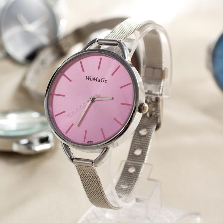 WoMaGe Women Watch Slim Belt Colors Faces Silver Plated Bracelet Quartz Ladies Wrist Girls Watches 12 Colors 100pcs/lot | Fotoflaco.net