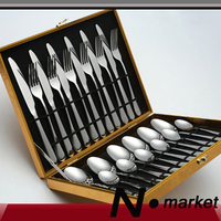 New High Class Good Quality Stainless Steel Silver Fork Dinner Steak Knife Spoon 24 pcs Set Gift Box Wedding Table Tableware