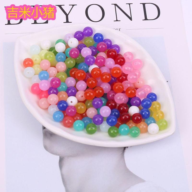 8mm 90pcs Jelly Beads Diy Toys For Children Girls Gift DIY Lacing Bracelets Necklace Straight Hole Bead Accessories Beaded Toy