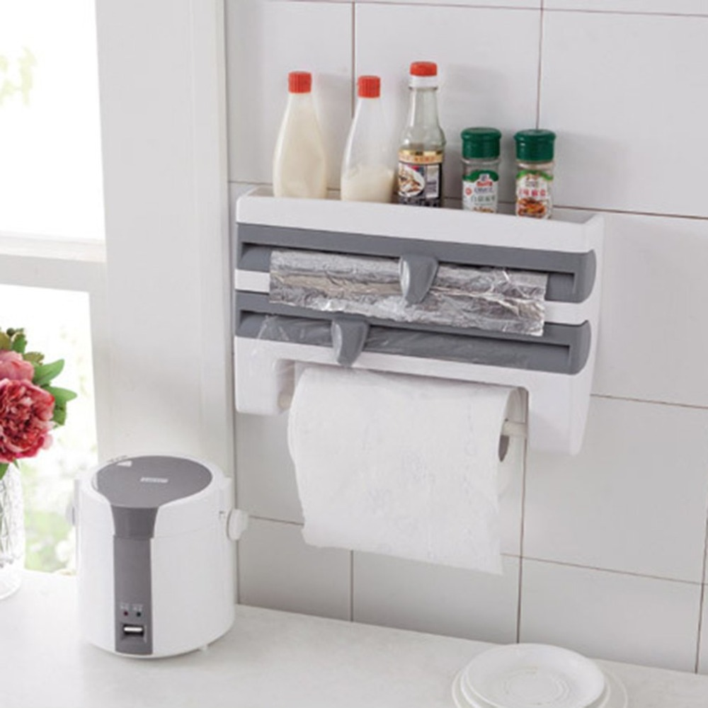 Portable Kitchen Cling Film Sauce Bottle Storage Rack Container Paper Towel Holder With Cutting Blades Home Kitchen Supplies
