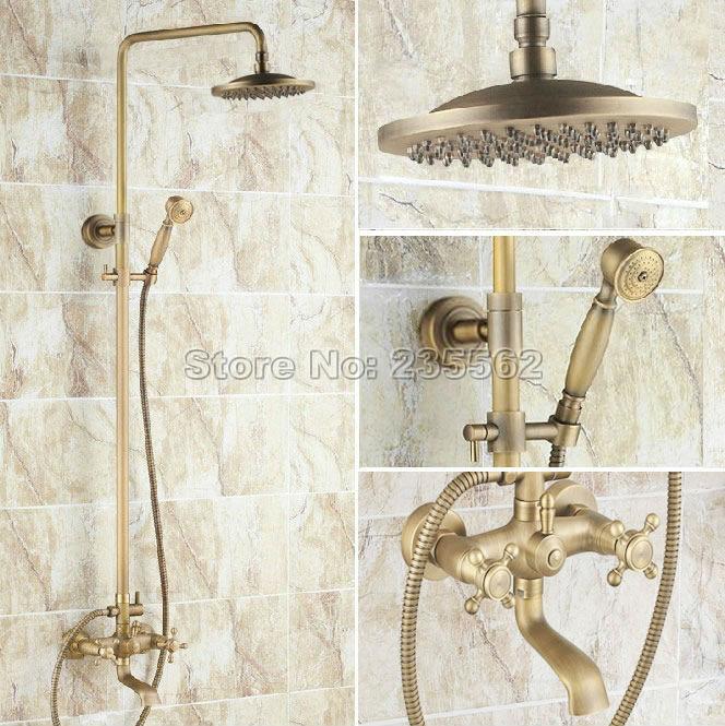 Античная латунь 8 Дождь душа Ванная комната смеситель для душа Установить Настенные W/ручной опрыскиватель горячей и холодной воды смесителя Crs024