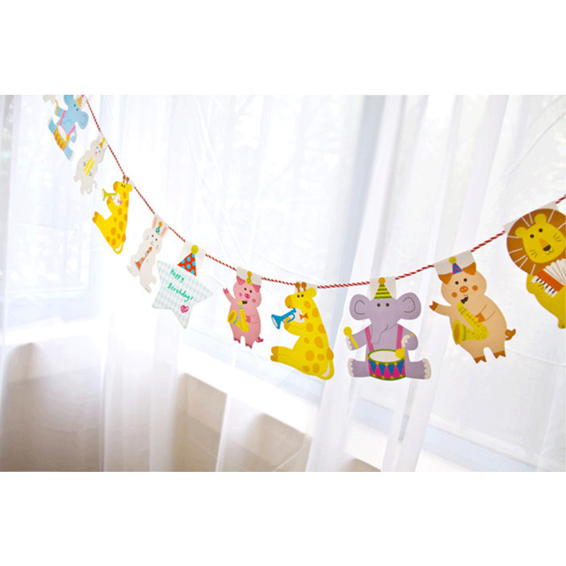 ᐃ2 M dibujos animados cumpleaños decoración banner Kids animal gran ...