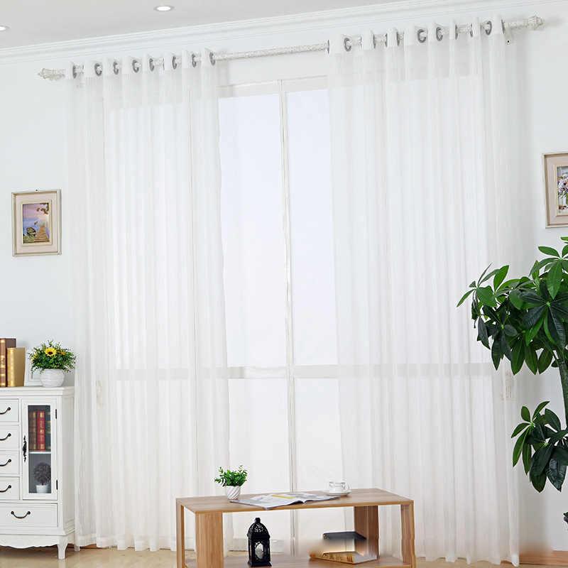 Tiyana מודרני פסים לבן צבע טול Sheer וילון לחדר שינה סלון חלון קורטינה מותאם אישית גודל וואל פנל P039D40